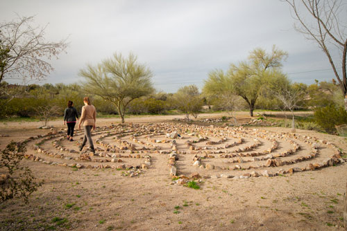 two women walking the Cottonwood labyrinth - Cottonwood Tucson - behavioral health treatment in Arizona