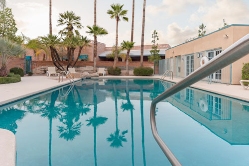 beautiful outdoor pool surrounded by palm trees - Cottonwood Tucson holistic rehab in Arizona