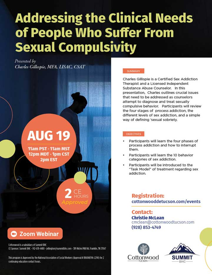 Addressing the Clinical Needs of People Who Suffer from Sexual Compulsivity - Webinar August 19, 2021